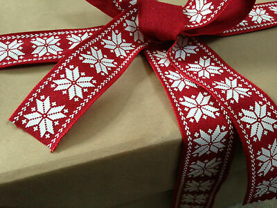 38mm Wire-edged NORDIC RED CHRISTMAS DIY Wrapping New Year Xmas