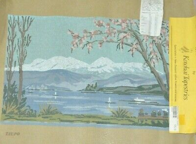 Unworked Needlepoint Tapestry Canvas Ice Capped Mountain Water Landscape NZ