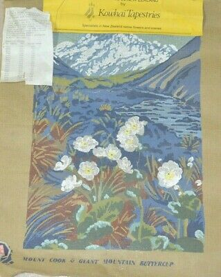 Unworked Needlepoint Tapestry Canvas Mount Cook & Giant Mountain Buttercup NZ