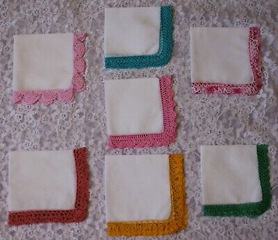 7 Vintage White Ladies Hankies With Coloured Crochet Border