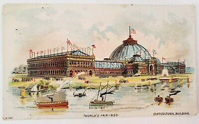 1893 Worlds Fair Columbian Exposition Horticultural Building Trade Card Coffee