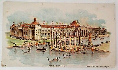 1893 Worlds Fair Columbian Exposition Agricultural Building Trade Card Coffee