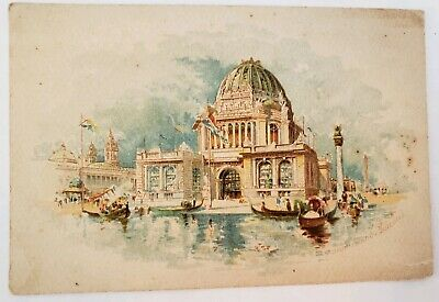 1893 Worlds Fair Columbian Exposition Administration Building Trade Card Pianos