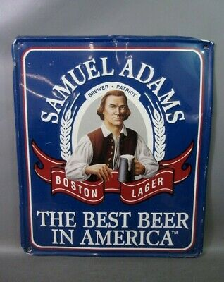 SAMUEL ADAMS SAM ADAMS BOSTON LAGER BEER TIN ADVERTISING SIGN  Vintage