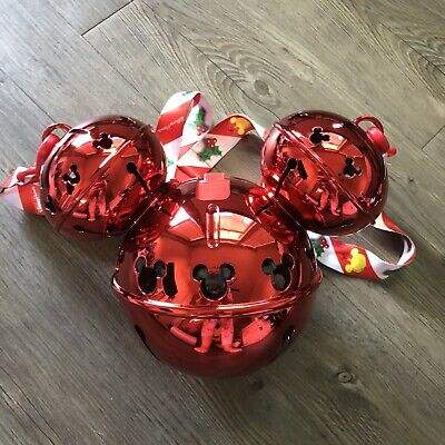 Disney Christmas Holiday 2019 Bell Mickey Light up Sipper Cup Strap NEW