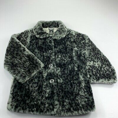 Iron Fist Girls Womens Coat Love Cats Grey Cropped Faux Fur Jacket Size S