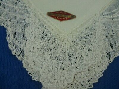Vintage Irish Linen White  Lace Edge Wedding Ladies Handkerchief Never Used