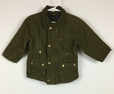Baby Gap Boys Field Coat Jacket Toddler 18-24 mths Flannel Lined Army Green
