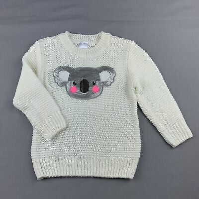 Girls size 2, Target, cream knitted sweater / jumper, sequin koala, EUC