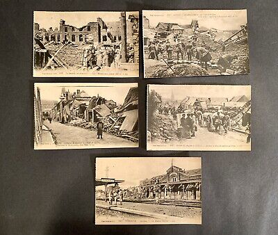 Antique Vintage RPPC Destruction Of Peronne WWI Postcard Lot (5)