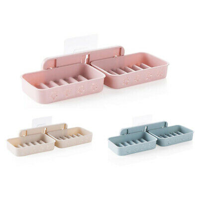 Bathroom Wall Mounted Soap Dish Drainer Box Storage Plate Tray Case Soap Hol 1E2