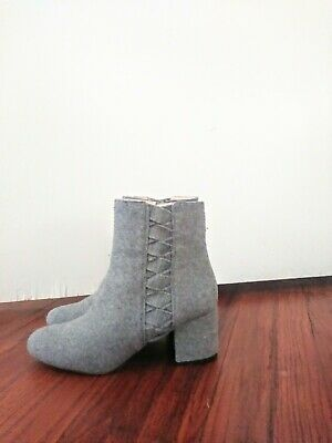 Nine West Women's Heather Gray Wool and Leather Boots Size 8.5