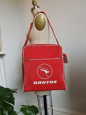 1960s Vintage Retro QANTAS Airline Red Carry On Bag
