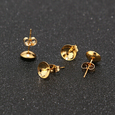 50pcs Gold Plated Stainless Steel Earring Studs Earring Posts Pearl Cup Studs