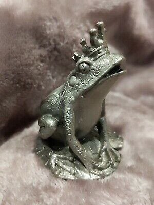 Large Pewter Frog Prince Metal Figurine Crowned King Royal Toad on Lily Pad