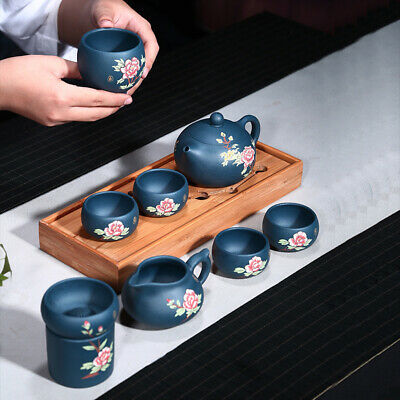 Chinese Yixing Zisha Dark Green Clay Handmade Xishi Teapot Teacup Gongfu Tea Set