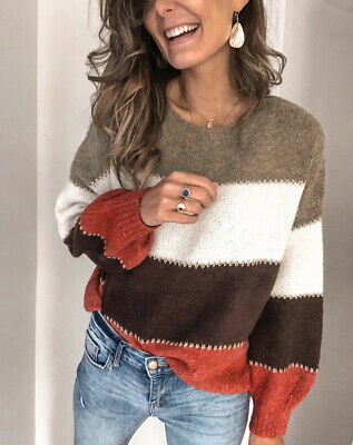 Womens Long Sleeve Knit Sweater Jumper Ladies Winter Casual Loose Pullover Tops