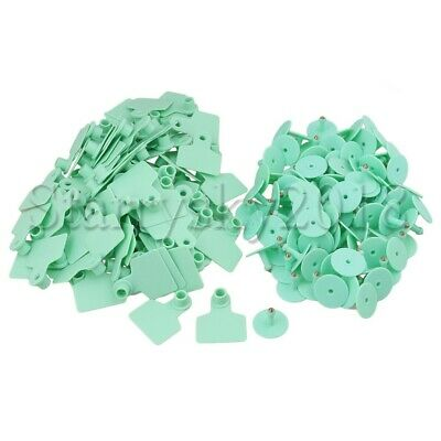 100pcs Green Goat Pig Sheep Cattle Beef Plastic Livestock Ear Tag Number Tags