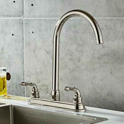 2 Handle Stainless Steel Kitchen Fixed Faucet Dual Hole Sink Water Tap Basin