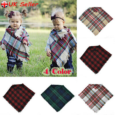 Kids Girls Boys Children Baby Scarf Winter Warm Plaid Scarves Neck Warmer Wrap