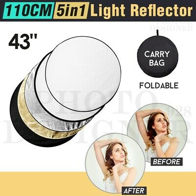 """43"""" 110cm 5in1 Photo Reflector Photography Light Diffuser Mulit Collapsible Disc"""