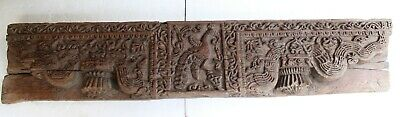 Antique Hand Carved Wooden Heavy Peacock Fine Patan Gujarat Wall Panel NH5204