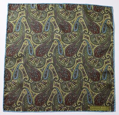 Chester Barrie green paisley pocket square. New condition