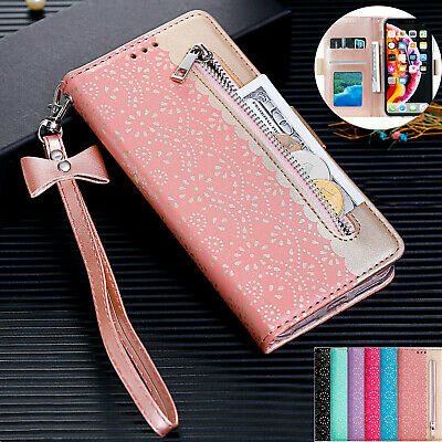 For Samsung S10 S9 S8 A50 A70 Zip Wallet Bag ID Card Flip Flower PU Leather Case