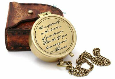 Engraved Brass Antique Nautical Compass Directional Magnetic Christmas Day Gift