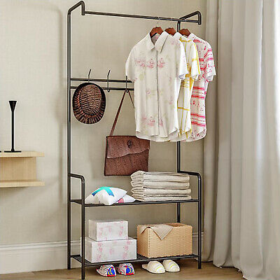 Clothes Rail Rack Garment Dress Hanging Display Stand Shoe Rack Storage 2 Shelf