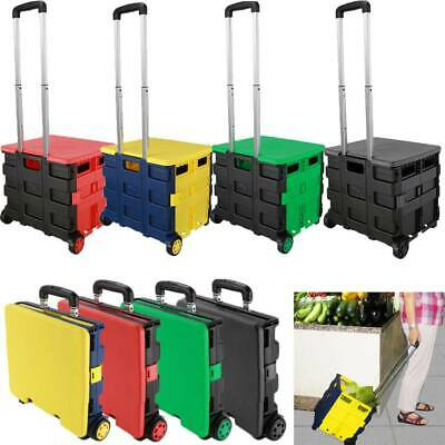 Plastic Rolling Shopping Trolley Basket On Wheels for Shops Supermarkets 4 Color