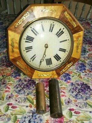 Antique Wooden And Enamel Dial Wall Clock For Spares & Repairs