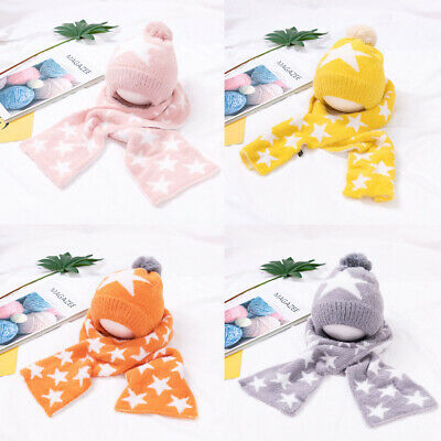 Kids Beanies Star Hat Scarf Winter Warm Ski Cap Toddler Cute Pompom Knitted Hats