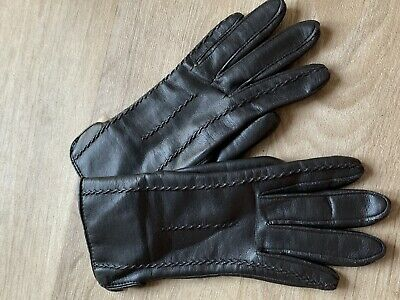 Vintage St Michaels Gloves Brown Fur Lined Vtg M&S