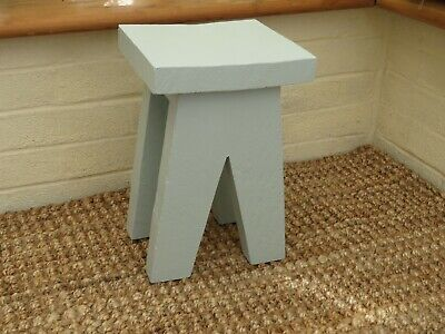 Small side table / milking stool made from chunky scaffold board - Duck Egg