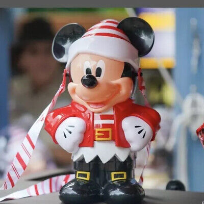NEW Disney Parks Christmas Mickey Mouse Red & White Elf Popcorn Bucket 2019