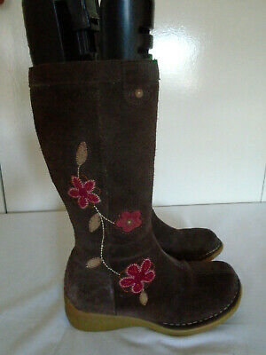 CLARKS Girls Leather Boots Size 13.5 F Brown Suede Side Zips Floral