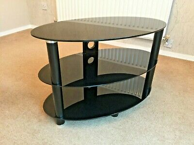 Black Gloss Tempered Glass 3 Tier TV Television Stand Table 80cm Long