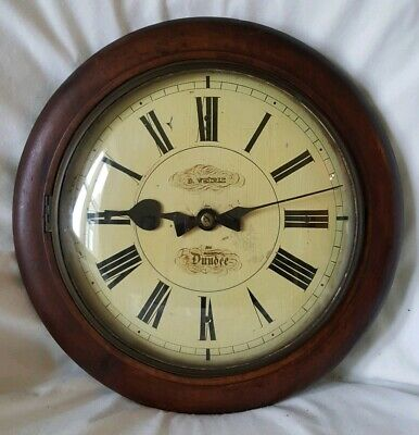 ANTIQUE ELECTRIC WOODEN WALL CLOCK BY D.WEHRLE OF DUNDEE c.1853 rare timepiece