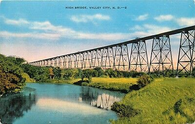 Linen Postcard ND AH C262 High Bridge Valley City North Dakota Kropp Unposted