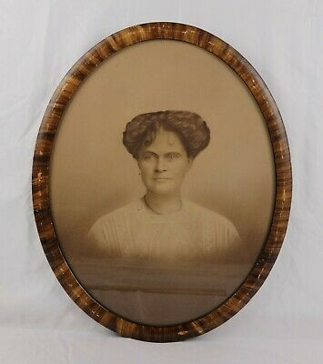Antique 19th Century Victorian Oval Frame Charcoal Portrait of Handsome Woman