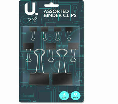 9pcs Clip Stationary Office Supplies Black Metal Binder Clips File Paper