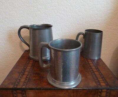 3 Antique/Vintage Pewter Tankards-Hand Hammered/Glass Bottom