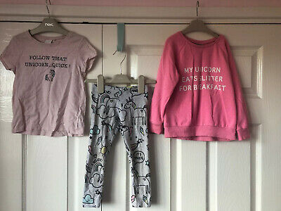 Next Girls Unicorn 3-4 Jumper Top And Leggings Outfit Set