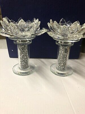 Crushed Diamond Crystal Filled Pair Of Candle Holder