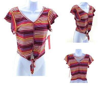 Hot Kiss Crop Top Juniors Multi Color Stripes Sleeveless V Neck Tie Front Shirt