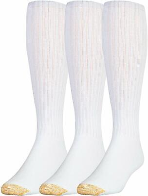 Gold Toe Men's White Over-The-Calf Socks 3 Pairs Extended Size 12-16 FREE Ship!
