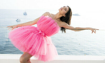 NEW WITH TAGS GIAMBATTISTA VALLI x H&M HM KENDAL JENNER PINK TULLE DRESS size 14