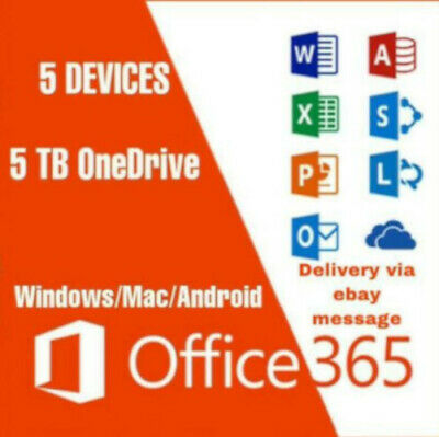 Microsoft office 365 Home personal 2016 2019 5 TB 5 Devices PC