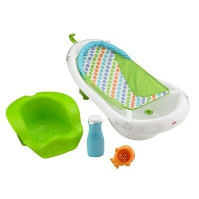 Fisher-Price 4-in-1 Sling Seat Convertible Baby Bath Tub Green Boy Girl New